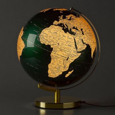 Podświetlany Globus Fir Green and Brass