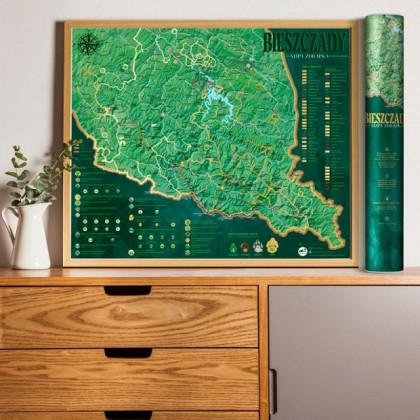 Mapa Zdrapka Bieszczady