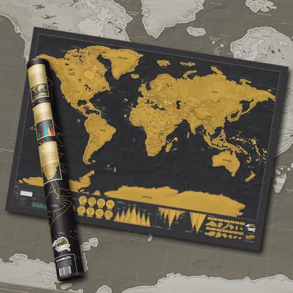 Mapa Zdrapka Deluxe - Najlepszy prezent dla Podróżnika